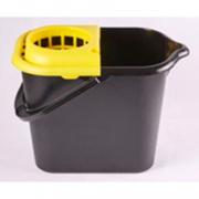 Ведро 16 литров с отжимной решеткой, черное/желтое